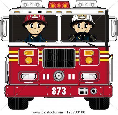 Cute Cartoon Firemen Firefighters and Fire Truck
