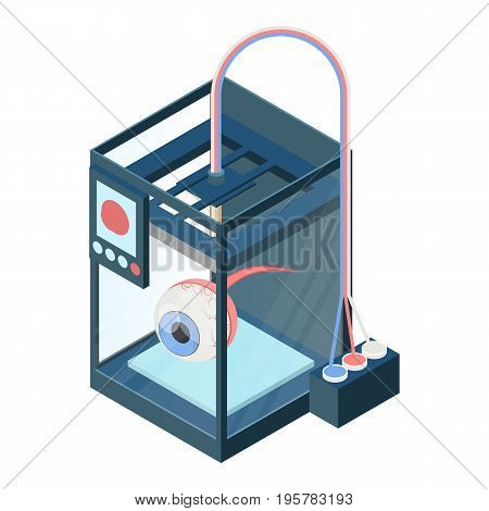 Creating artificial eye on three dimensional printer vector illustration isolated on white. Bioprinting concept, computer modeling of eyesight organ