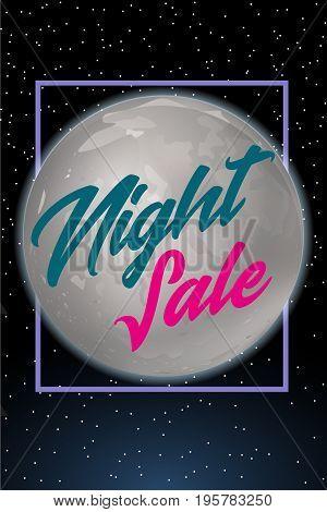 Night sale dark banner. Sale poster with fool moon. Vector illustration.