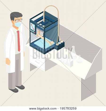 Doctor creating artificial human bone on 3D printer in laboratory at table with flasks. Additive manufacturing concept, medicine of future vector illustration
