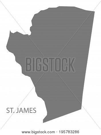 St. James Jamaica Region Map Grey Illustration Silhouette Shape