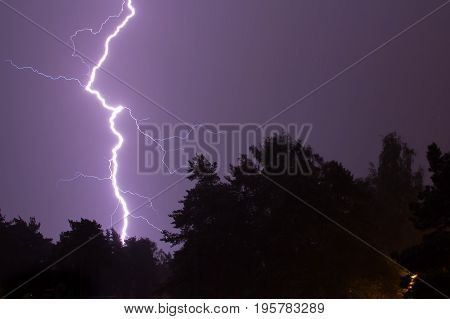 Thunder storm at night in the middle of summer