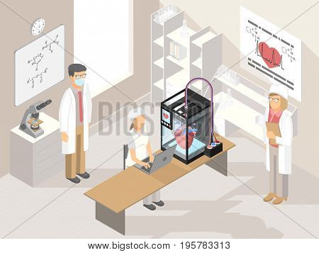Creating three-dimensional heart under computer control in lab vector illustration. Clinic with medical 3D printer and professional doctors working with additive manufacturing