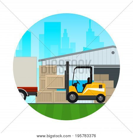 Warehouse Services , Warehouse with Forklift Truck on the Background of the City , Icon Transportation and Cargo Services and Storage, Vector Illustration