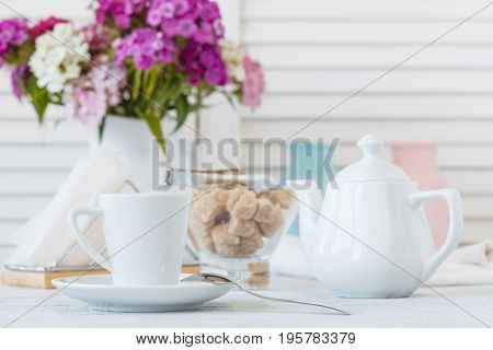 Closeup Of Cup Of Coffee In Interior Restaurant