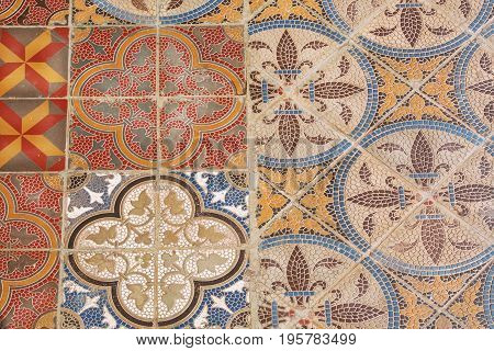 Colorful vintage style ceramic tile. Retro patterned texture and background. Colonial house floor by old times.