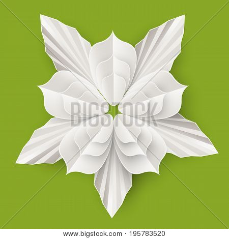 Beautiful flower with leaves made of white paper sheet isolated realistic vector illustration on green background. Amazing floristic origami work.