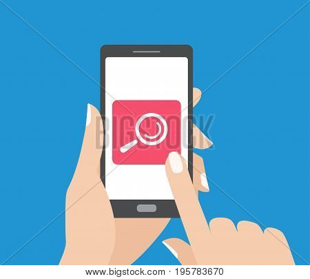 Hand holding smartphone and touching the screen with search button. Magnifying glass icon. Mobile search flat design concept.