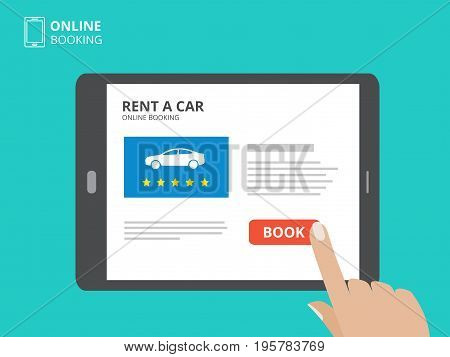 Hand holding tablet computer and touching a screen with car icon and book button. Design concept of car hire mobile application. Flat design vector illustration