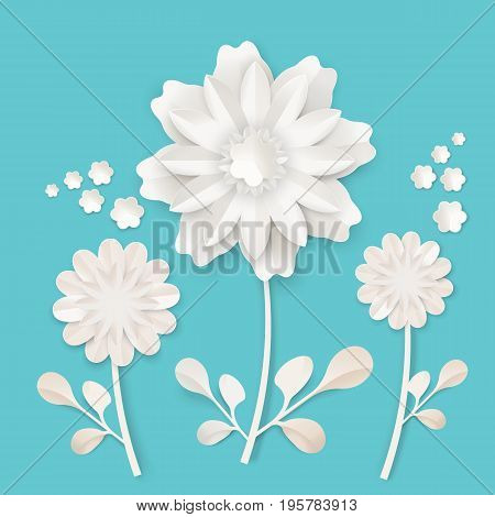 Graceful stem with charming blossom made of white paper sheet isolated vector illustration on turquoise background. Skilled origami work with lot of details.
