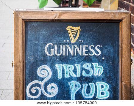 Guinness Irish Pub Sign In Hamburg Hdr