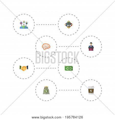Flat Icons Administration, Mind, Income And Other Vector Elements