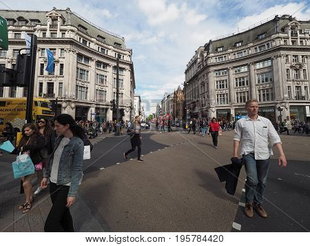 People In Oxford Circus In London