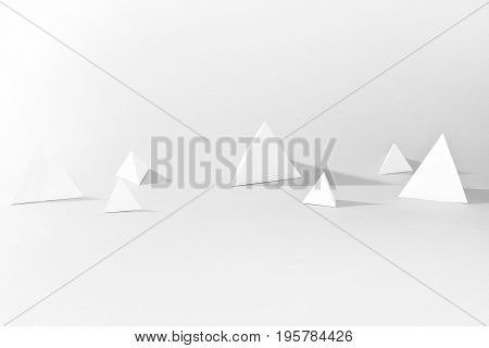 Black and white graphic abstraction of three-dimensional triangles