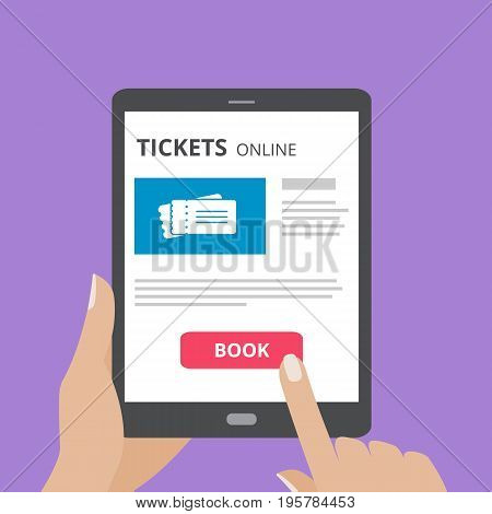 Hand touching screen of tablet computer with buy button and tickets icon on screen. Concept of online tickets mobile application. Flat design vector illustration