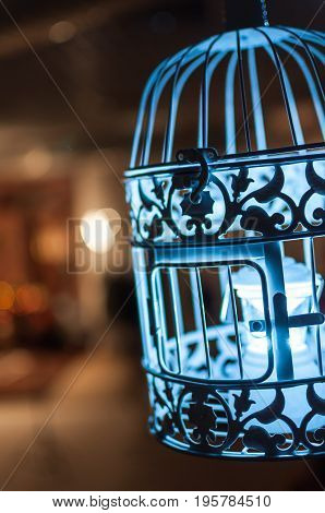 Cage for birds on the background of a cosy living room