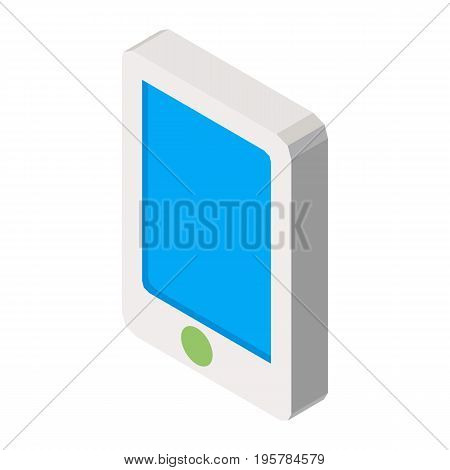 Mobile phone three dimensional business icon vector illustration isolated on white. Telephone means of communication in 3D design