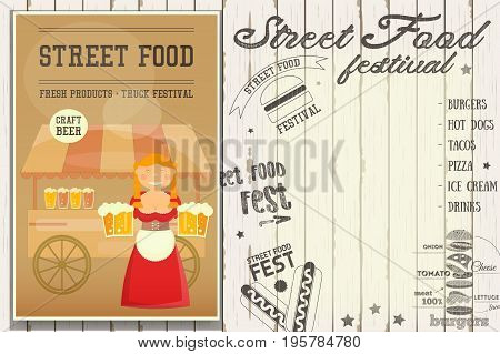Street Food and Fast Food Truck Festival - Beer Stall. Template Design. Poster on White Wooden Background with Text. Vector Illustration.