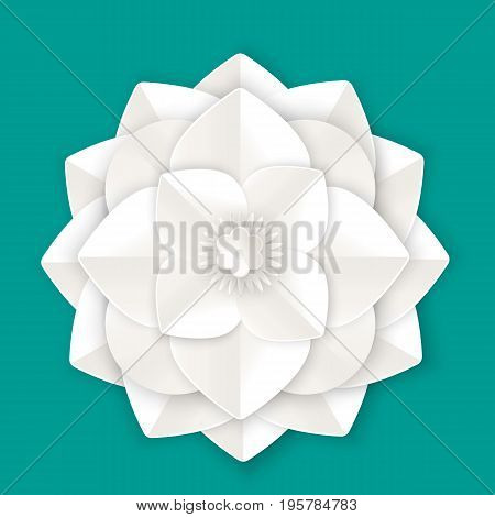 Beautiful flower with leaves made of white paper sheet isolated realistic vector illustration on background. Amazing floristic origami work.
