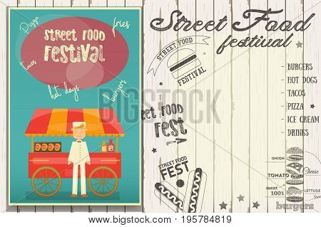 Street Food and Fast Food Truck Festival - Hot Dog Stall. Template Design. Poster on White Wooden Background with Text. Vector Illustration.