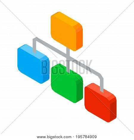Structure of organized elements, hierarchy network scheme 3D icon with one leader chart divided on three branches at lower level vector illustration isolated on white.