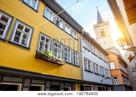 Morning view on the famous Merchants bridge in Erfurt city, Germany