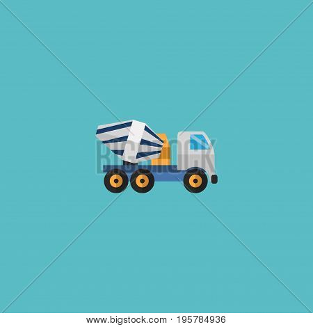 Flat Icon Concrete Mixer Element. Vector Illustration Of Flat Icon Cement Blender Isolated On Clean Background