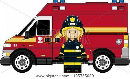 Firefighter Girl & Van.eps