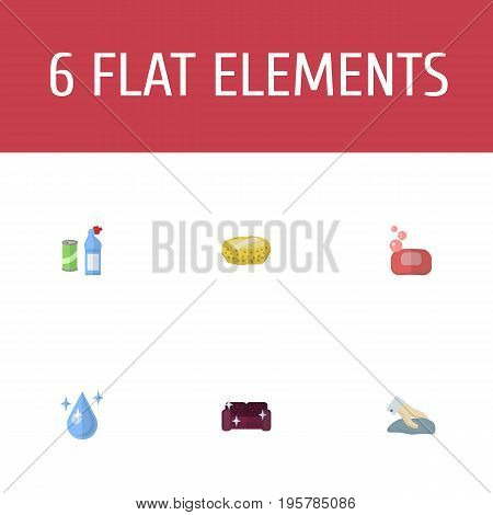 Flat Icons Sponge, Sofa, Means For Cleaning And Other Vector Elements