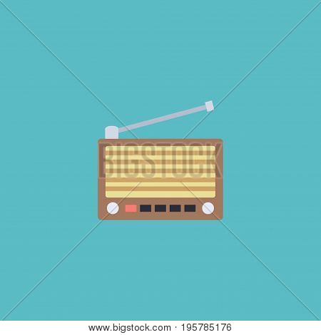 Flat Icon Retro Tuner Element. Vector Illustration Of Flat Icon Radio Isolated On Clean Background