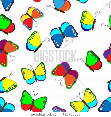 Seamless pattern of butterflies. Colourful child's drawing of butterflies. Vector illustration