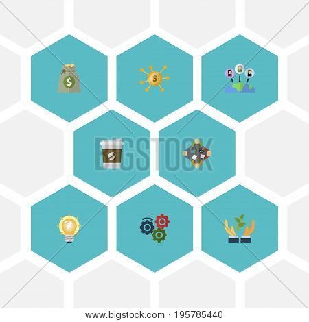 Flat Icons Discussion, Bulb, Financing And Other Vector Elements