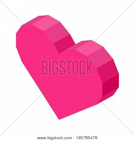 Bright pink angular heart computer icon isolated cartoon vector illustration on white background. Like symbol in social media. Modern sign of approval.