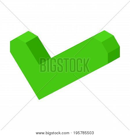 Green check mark icon isolated cartoon volumetric vector illustration on white background. Computer symbol of complete action or confirmation.