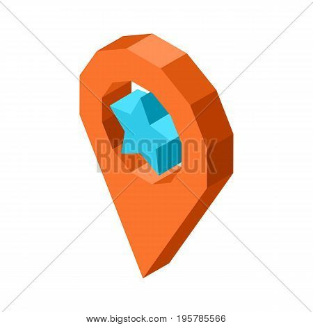 Favorite geolocation icon with star inside circle isolated vector illustration on white background. Social media pointer of prefered location.