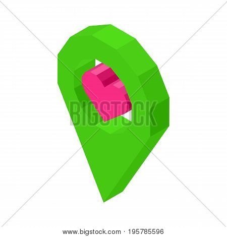 Liked geolocation icon with pink heart inside circle isolated vector illustration on white background. Social media symbol of nice public place .