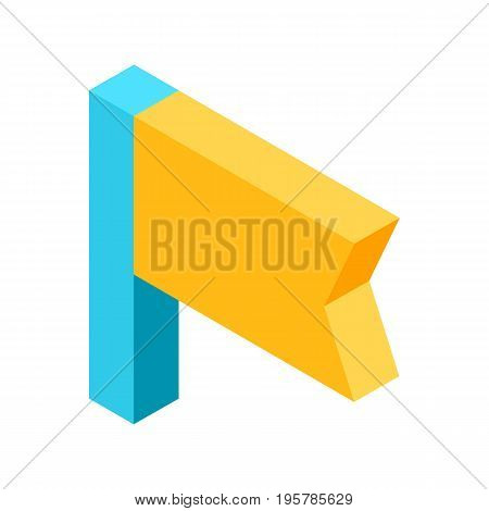 Flag icon that signifies bookmark isolated vector illustration on white background. Symbol for marking and saving liked post in social media.