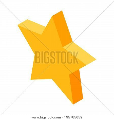 Gold star icon for favorite things marking in social media isolated vector illustration on white background. Symbol for fast access to favorite posts.