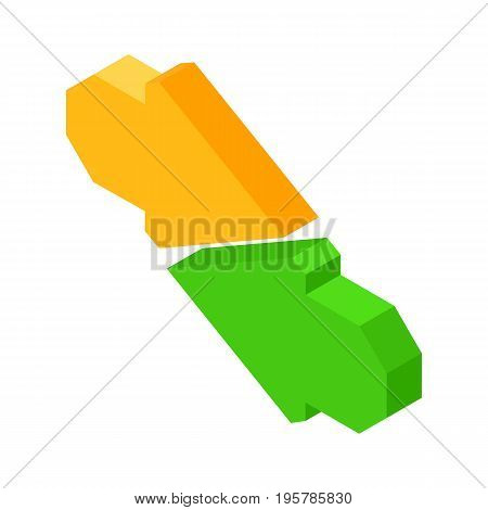 Data transfer icon with two colorful arrows directed to each other isolated vector illustration on white background. Symbol for turn on information exchange.