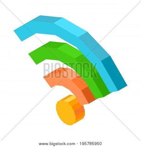 Bright colorful wifi icon isolated 3D cartoon vector illustration on white background. Symbol that shows quality of wireless internet connection.