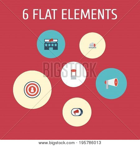 Flat Icons Laptop, Audience, Advertising And Other Vector Elements