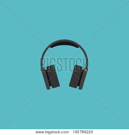 Flat Icon Headphones Element. Vector Illustration Of Flat Icon Earphones Isolated On Clean Background
