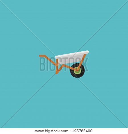 Flat Icon Wheelbarrow Element. Vector Illustration Of Flat Icon Handcart Isolated On Clean Background