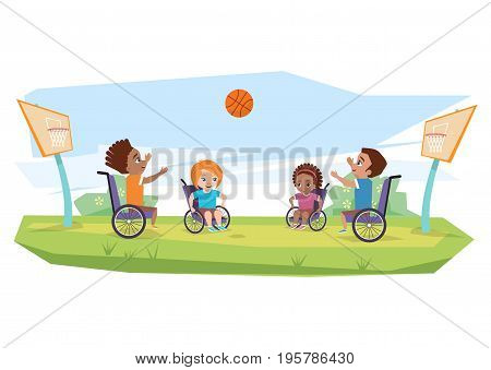 Children with disabilities playing basketball in the open air on the grass