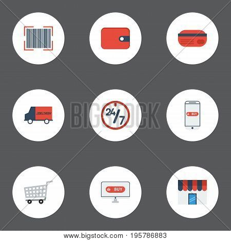 Flat Icons Support, Purchase, Qr And Other Vector Elements