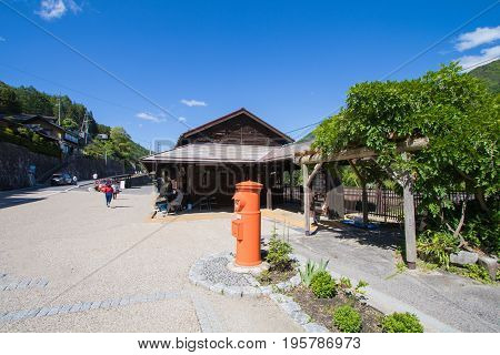 NARAI JAPAN - JUNE 4 2017: People are walking at Narai is a small town in Nagano Prefecture The old town provided a pleasant walk through about a kilometre of well preserved buildings.