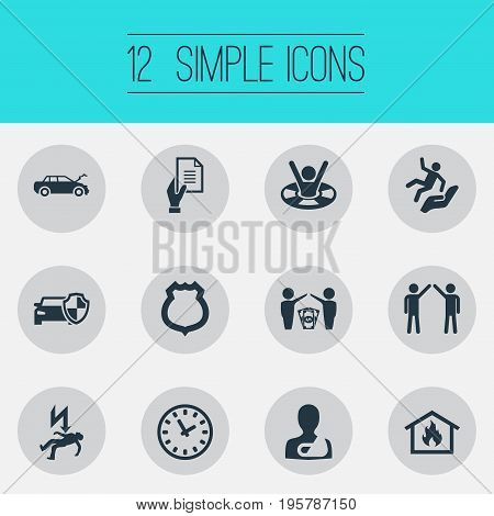 Vector Illustration Set Of Simple Safeguard Icons