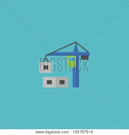 Flat Icon Tower Crane Element. Vector Illustration Of Flat Icon Hoisting Machine Isolated On Clean Background