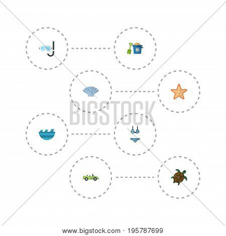 Flat Icons Beachwear, Conch, Sea Star And Other Vector Elements