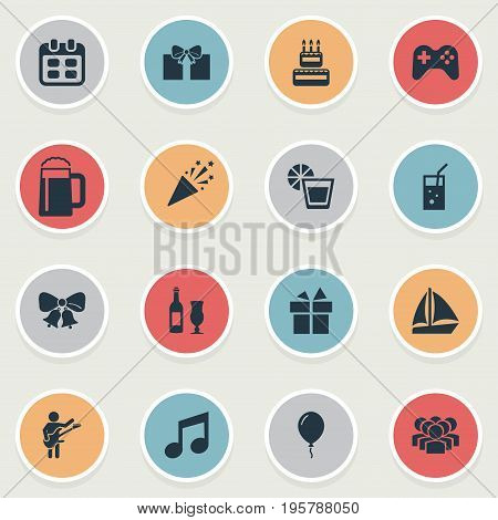 Vector Illustration Set Of Simple Celebration Icons